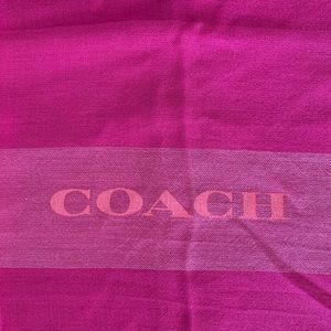 Coach Pink Fringe Plaid Square Scarf
